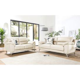 image-Madrid Ivory Leather 3+2 Seater Sofa Set