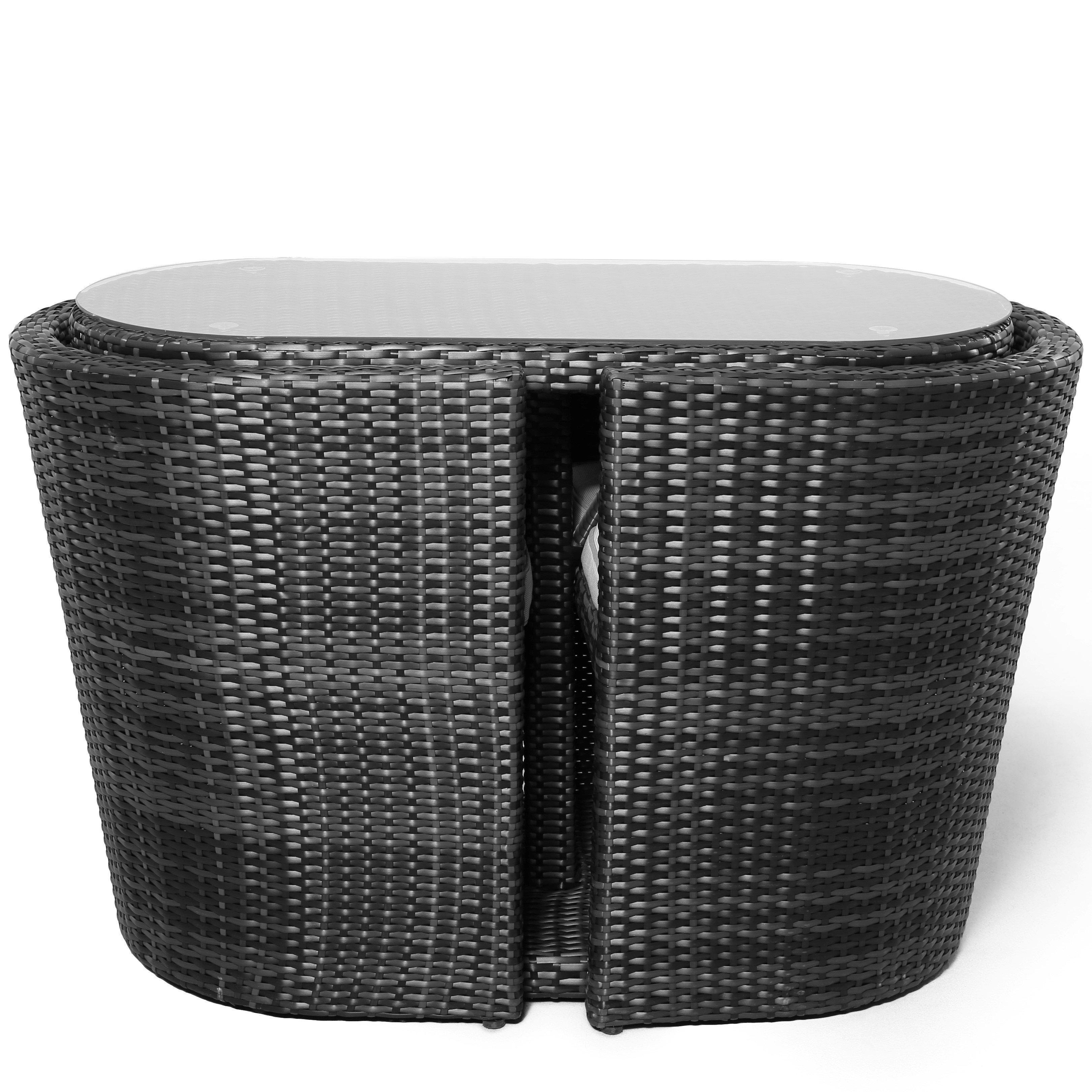 image-Maze Rattan Balcony Bistro Set / Grey