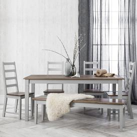 image-Canterbury Dining Table with 5 Chairs & Bench in Grey and Dark Pin