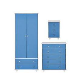 image-Miami Fresh Kids 3 Piece Package - 2 Door, 2 Drawer Wardrobe, 5 Drawer Chest, 3 Drawer Bedside Chest - Blue