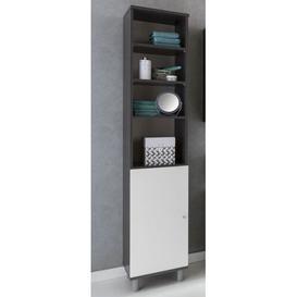 image-Mathieu 35 x 179cm Free-Standing Bathroom Cabinet Mercury Row Colour: Grey/White
