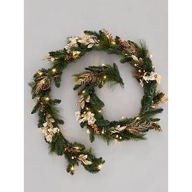 image-Pre-Lit Hydrangea Christmas Garland In Gold &Ndash 270 Cm