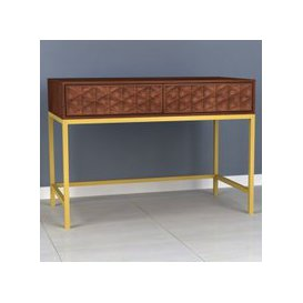 image-Ivy Console Table In Rich Walnut With 2 Drawers