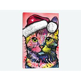 image-'Christmas Cat' by Dean Russo Graphic Art Print on Wrapped Canvas Happy Larry Size: 66.04cm H x 45.72cm W x 1.91cm D