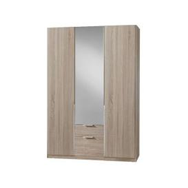 image-New York Mirrored 3 Doors Wardrobe In Oak