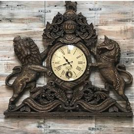 image-Vintage Hand Carved Wooden 'United Kingdom Royal Coat of Arms' Pendulum Wall Clock