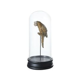 image-Aged Effect Gold and Black Parrot Figurine in Bell Jar H30