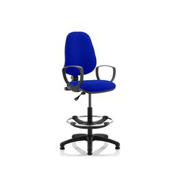 image-Lunar 1 Lever Draughtsman Chair (Fixed Arms), Stevia Blue