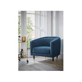 image-Fluted Velvet Occasional Chair - Blue