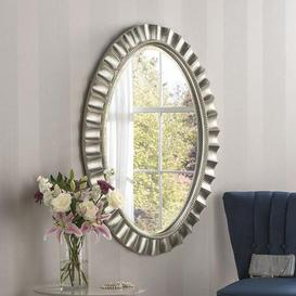 image-Yearn Silver Ribbed Oval Mirror 108x80cm Champagne (Grey)