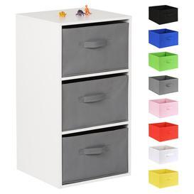 image-Hartleys White 3 Cube Kids Storage Unit & 3 Handled Box Drawers - Grey