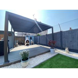 image-Maranza Vented Gazebo 3 x 3.6m Louvered Shuttered Roof System (Number Of End Screens (3m): One End Screen, Number Of Side Screens: Two Side Screens)
