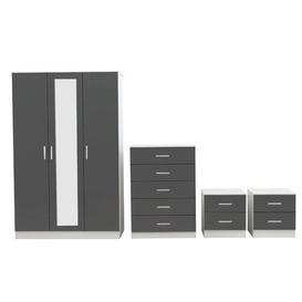 image-Eva 4 Piece Bedroom Set Zipcode Design Colour: Matte White/Gloss Grey