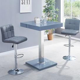 image-Topaz Glass Bar Table In Grey Gloss With 2 Coco Grey Stools