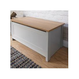 image-Valencia Storage Blanket Box In Grey With Oak Effect Top