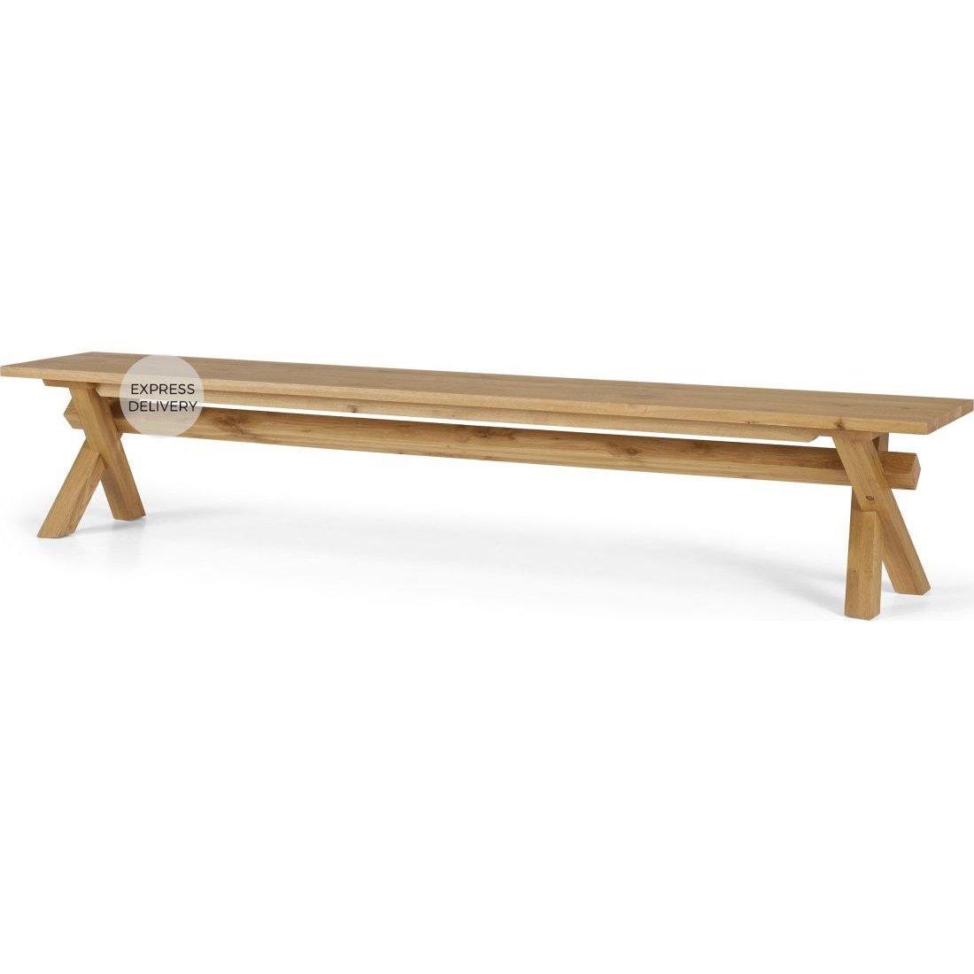 image-Bayron 5 Seat Dining Bench, Brushed Solid Oak