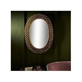 image-Serene Nashik Gold Oval Mirror - 68cm x 95cm
