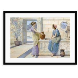 image-'Two Women of Ancient Greece Filling Their Water Jugs at a Fountain (Women of Corinth)' Painting Astoria Grand Format: Framed Paper, Size: 40 cm H x 5