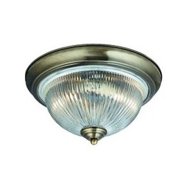 image-American Diner Bathroom Ceiling Lamp In Antique Brass Finish