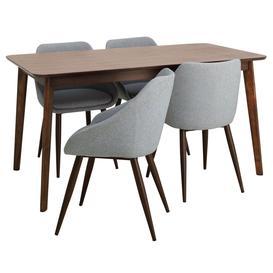 image-Habitat Skandi Walnut Veneer Dining Table & 4 Grey Chairs
