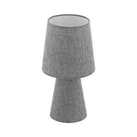 image-Eglo 97122 Carpara 2 Light Small Table Lamp In Grey With Linen Shade - H: 340mm