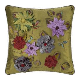image-MacKenzie-Childs - Greengage Floral Cushion - 50x50cm