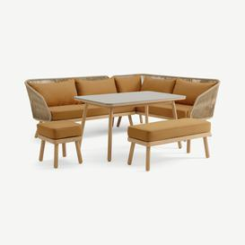 image-Alif Garden Corner Dining Set, Soft Terracotta & Eucalyptus