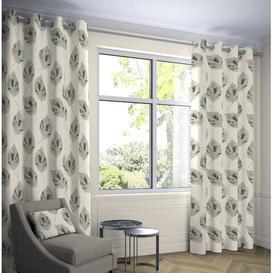 image-Bolen Room Darkening Eyelet Thermal Curtains Ebern Designs Colour: Soft Grey, Panel Size: Width 116 x Drop 137 cm, Light Filtration/Thermal: Blackout/
