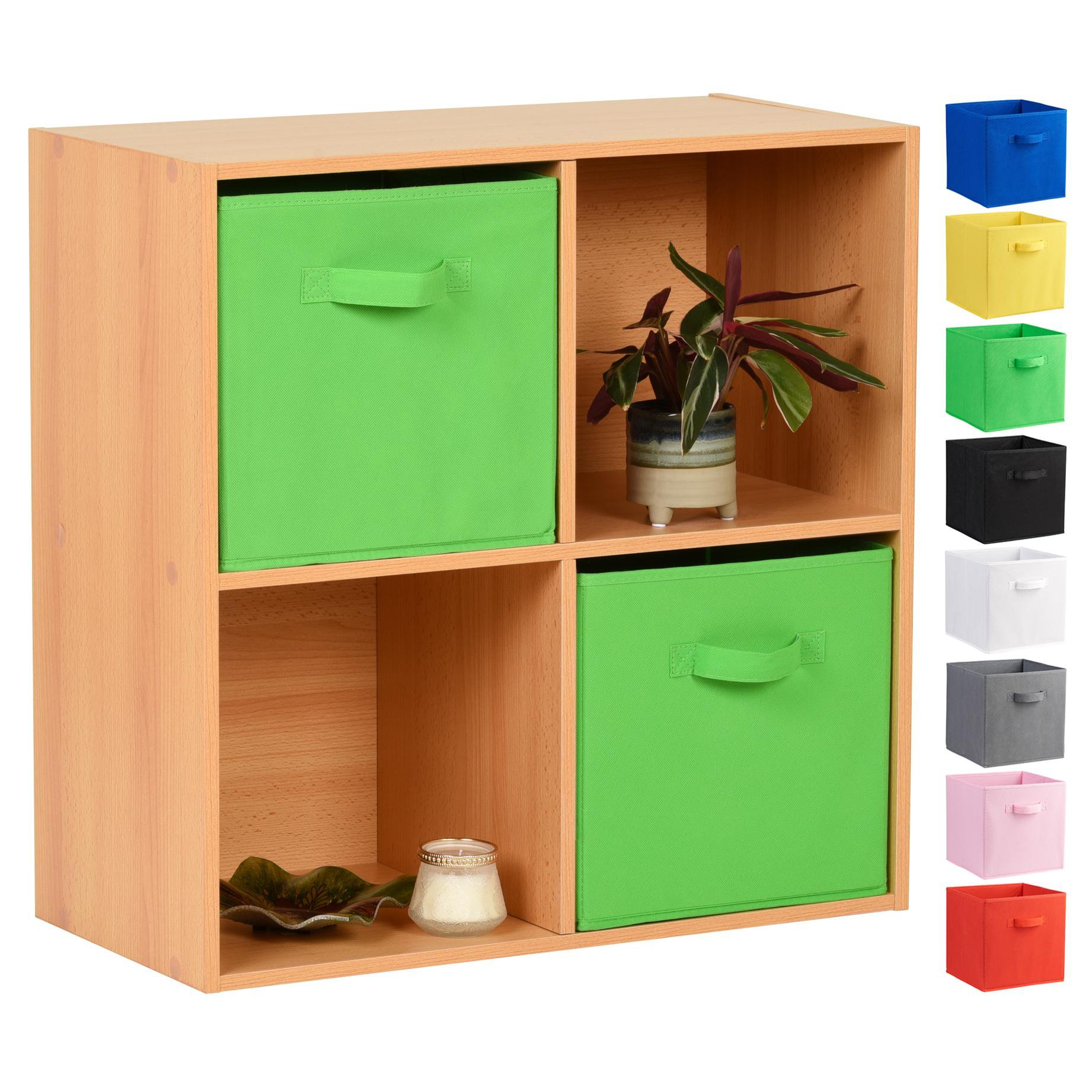 image-Hartleys Beech 4 Cube Storage Unit & 2 Handled Box Drawers