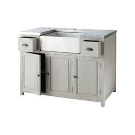 image-Grey Acacia Wood Kitchen Base Cabinet with Sink W120 Zinc