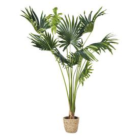 image-Artificial Palm Tree and Woven Pot H146