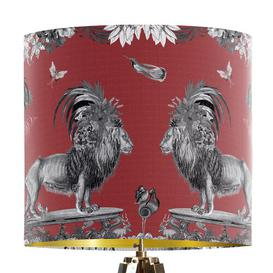 image-Classical Jungle Lion 30cm Cotton Drum Table Lamp Shade Bloomsbury Market Colour: Red