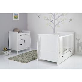 image-Obaby Stamford Classic Sleigh 2 Piece Nursery Set - White