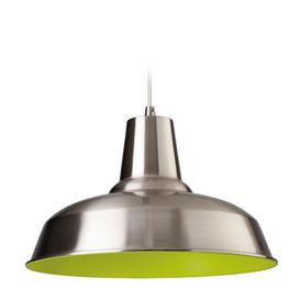 image-Firstlight 8623 Smart 1 Light Brushed Steel and Green Ceiling Pendant
