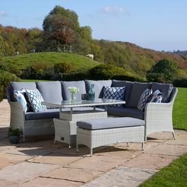 image-2020 Bramblecrest Tetbury Garden Sofa Set With Rectangle Adjustable Tree-Free Table & Dining Bench - Cloud