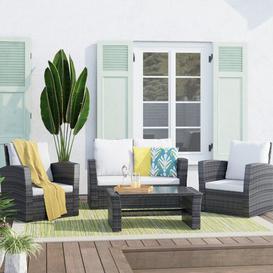 image-4 Seater Rattan Sofa Set Zipcode Design Colour (Frame): Mixed Grey, Colour (Cushion): Light Grey