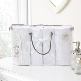 image-Moses Basket Bale Gift 4 Piece Cot Bedding Set Clair De Lune Colour: White