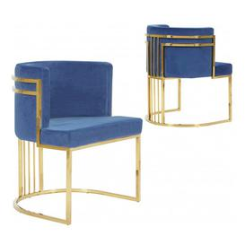 image-Casoli Blue Velvet Dining Chairs In Pair With Gold Legs
