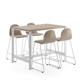 image-Furniture set VARIOUS + GANDER, 1 table and 4 bar chairs, beige