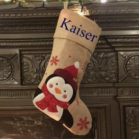 image-Penguin Personalised Christmas Stocking East Urban Home Colour: Navy Blue