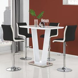 image-Ilko High Gloss Bar Table In White With 4 Ritz Black White Stool