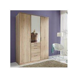 image-Alberta Mirror Wardrobe In San Remo Oak Effect With 3 Doors