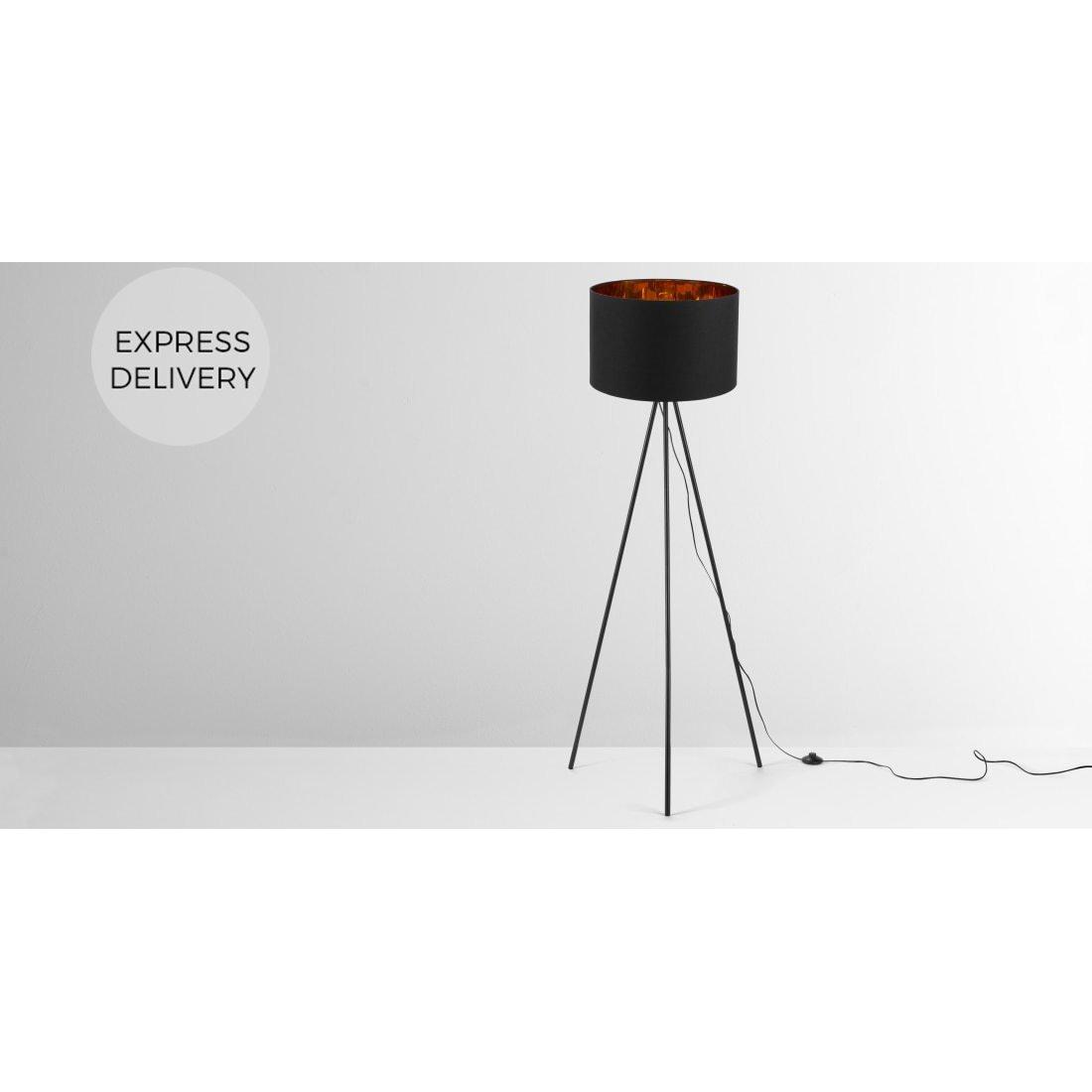 image-Tris Tripod Floor Lamp, Matt Black and Copper