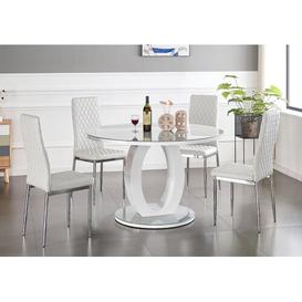 image-Sevki Dining Set with 4 Chairs Metro Lane Colour (Chair): White