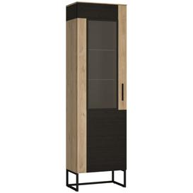 image-Cordoba Tall Display Cabinet - Light Jackson Hickory and Dark Accents
