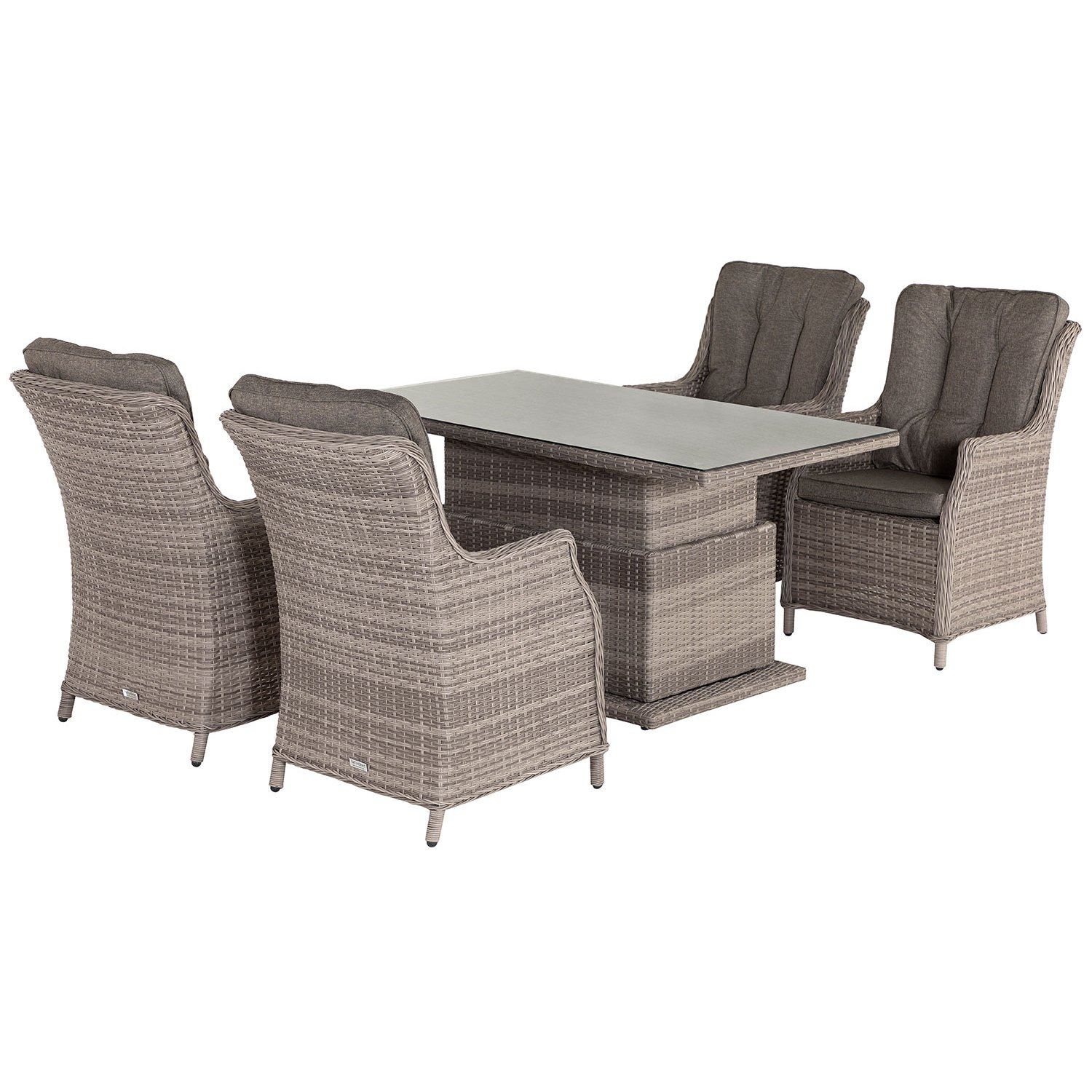 image-Riviera 4 Rattan Garden Dining Chairs and Adjustable Table Set in Grey