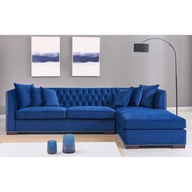 image-Brentford Blue Velvet Fabric Corner Sofa Suite - Right