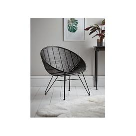 image-Flat Rattan Occasional Chair - Black
