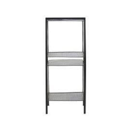 image-Black Perforated Metal Shelving Unit