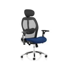 image-Alva Mesh Back Chair With Coloured Fabric Seat, Stevia Blue